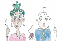 Curly-bird-lady-and-coathanger-man